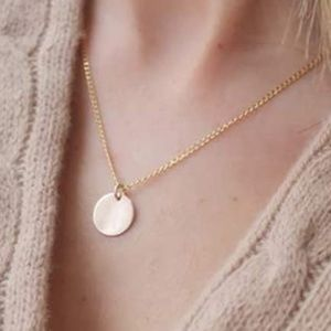 14K GOLD PLATED DAINTY CIRCLE MEDALLION NECKLACE